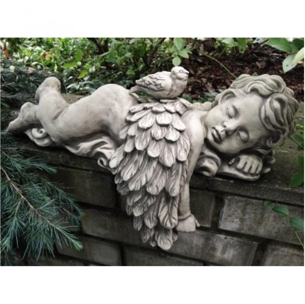 Engel Azur Liegend Mit Vogel