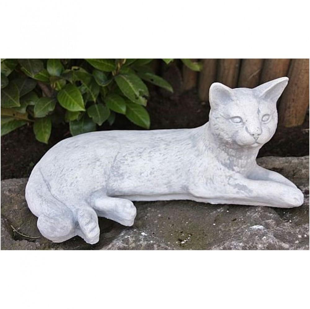 Liegende Katze Aus Steinguss