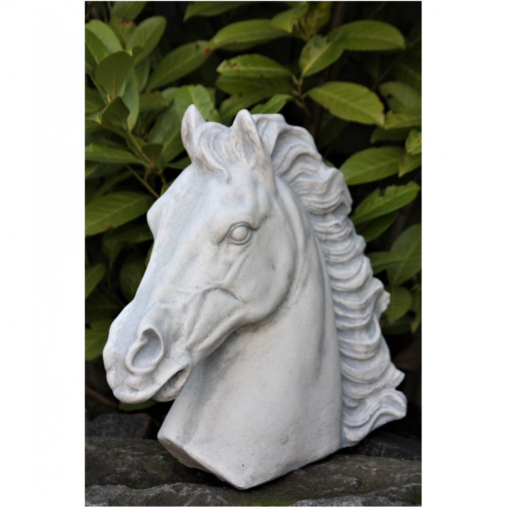 Steinfigur Tierfiguren Pferd groß anthrazit