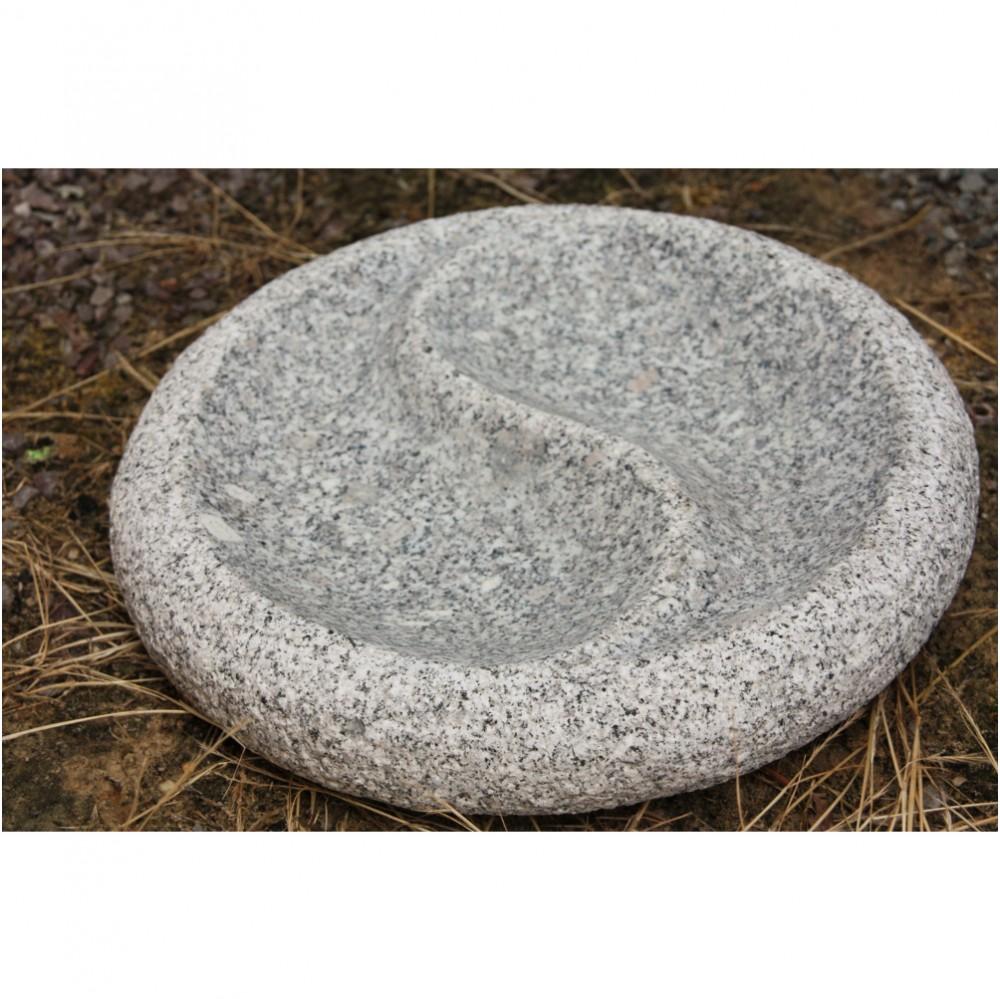 Ying Yang Vogeltraenke rund aus Granit frostfest